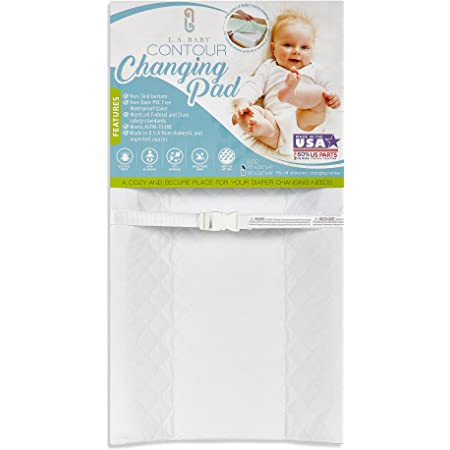 """LA Baby Contoured Waterproof Diaper Changing Pad, 32"""" with Easy to Clean Quilted Cover - Made in USA. Non-Skid Bottom, Safety Strap, Fits All Standard Changing Tables/Dresser Tops"""