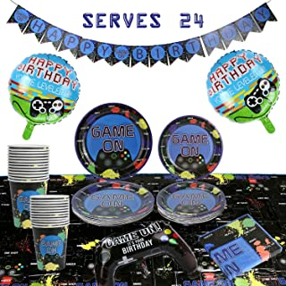 101 Piece Video Game Party Supplies Set Including Banner, Plates, Cups, Napkins, Tablecloth, Joy Stick Controller Balloon, Round Controller Balloons - Serves 24