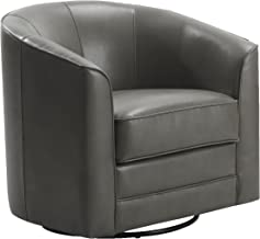 Emerald Home Milo Gray Accent Chair with Faux Leather Upholstery, Welt Trim, And Curved Back