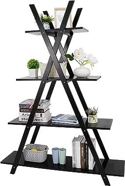 ZenStyle 4 Tier Bookshelf Storage Shelves, Bookcase Ladder Shelf Home Office A Frame Wooden Display Shelves for Potted Plant,