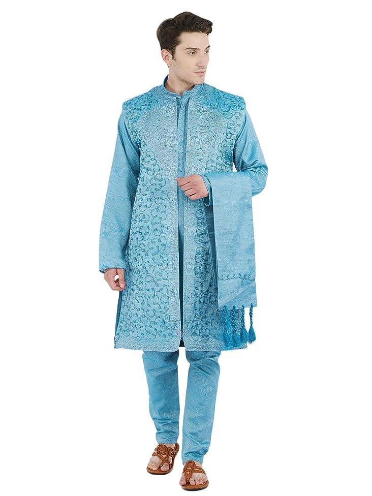 SKAVIJ Men's Embroidered Kurta Pajama Jacket and Stole Set