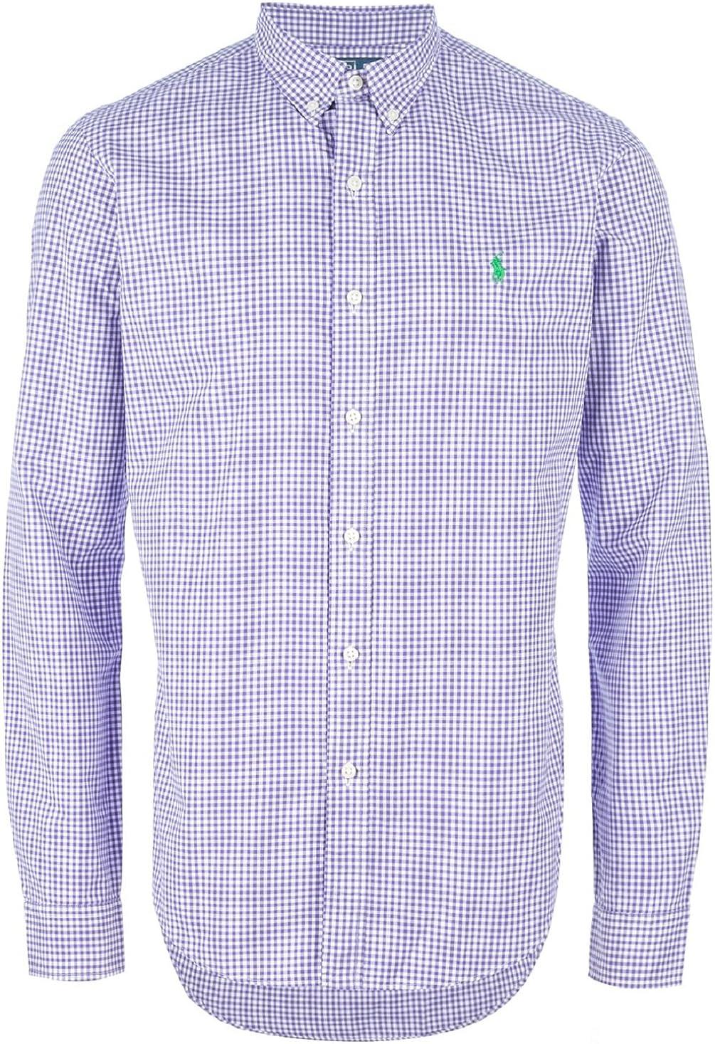 Ralph Lauren Polo Mens Button Down Pony Logo Dress Purple- 16.5
