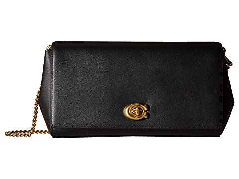 c21191ec6018 COACH Smooth Leather Turnlock Clutch with Chain at Zappos.com