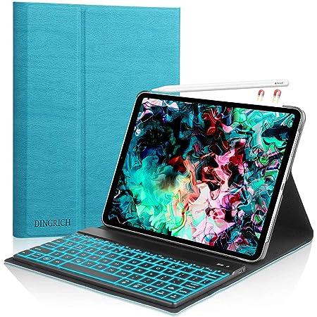 Funda Teclado para iPad Pro 11 2018, DINGRICH Bluetooth Inalámbrico Teclado para iPad Pro 11 Pulgadas 2018 A1980 A1934 A1979 A2013(Azul)