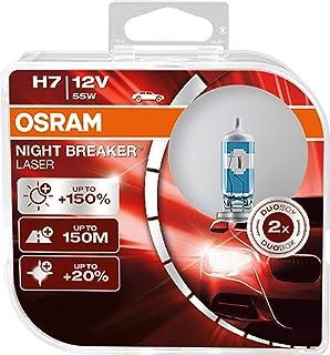 OSRAM NIGHT BREAKER LASER H7, Gen 2, +150% más luz, bombillas H7 para faros delanteros, 64210NL-HCB, 12V, duo box (2 lámpa...