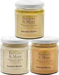 Butters & More Vegan Nut Milk Starter Kit. Almond, Hazelnut & Cashew Butter (3x200G). Keto & Diabetic Friendly. All Unswee...