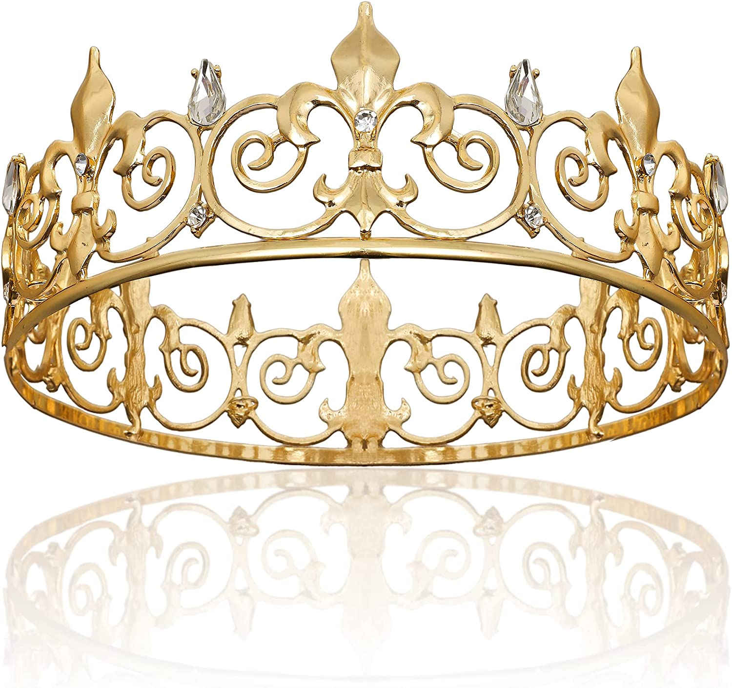 Elegant Gold King Crown for Men Prince Tiaras Metal Clearance SALE! Limited time! Royal and