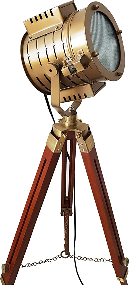 Details about  /Vintage Marine Wooden Three Fold  Tripod Rustic Floor  Lamp