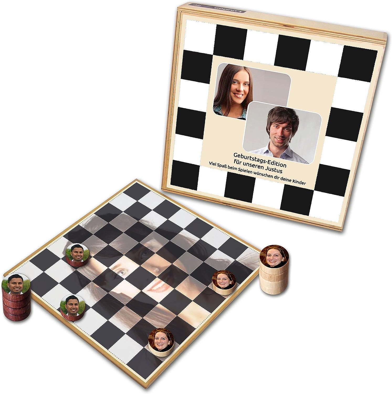 Personalisiertes FotoDamespiel  bedruckt mit ihren Bildern (Deluxe  Holzausführung mit Fotoscheiben)