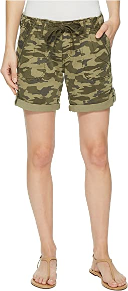 Petite Adeline Denim Shorts in Drab Green Camo
