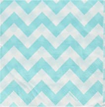 Party Perfect Disposable Chevron Print Luncheon Napkins Tableware, 16 Pieces, Made from Paper, Robin s-egg Blue, by Amscan