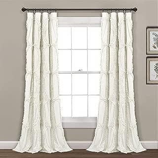 "Lush Decor Avon Window Curtain Ivory Panel for Living, Dining Room, Bedroom (Single), 84"" x 54"","