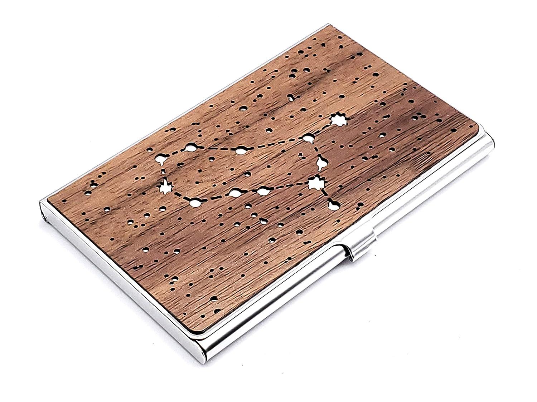 Wood New arrival Business Card Holder Gemini Con 5 ☆ popular Zodiac Case