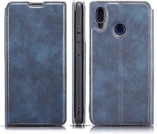 携帯電話レザーケース Huawei P Smart(2019)用レトロシンプル極薄磁気水平フリップレザーケース、ホルダー&カードスロット&ストラップ付き レザーケース (色 : Blue)