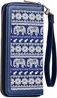 Wallet for Women Large Canvas Wristlet Clutch Wallet Long Ladies Purse with Wristlet Strap for Cellphone, Cash, Coin