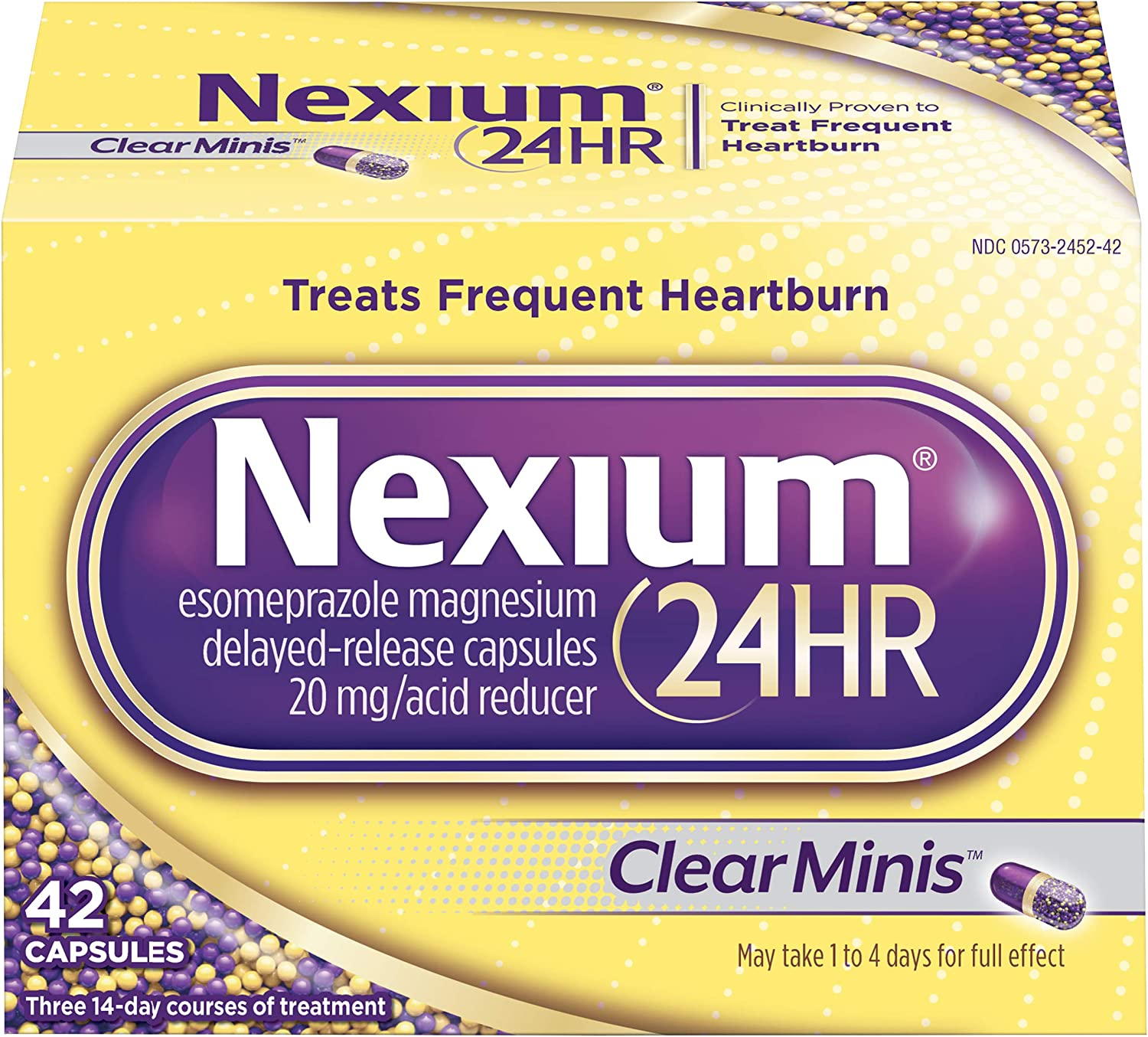 Nexium 24HR (42 Count, ClearMinis) All-Day, All-Night Protection from Frequent Heartburn Medicine with Esomeprazole Magnesium 20mg Acid Reducer, 38% Smaller Capsule: Health & Personal Care