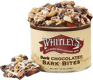 Whitley's Dark Chocolate Bark Bites 12 Ounce Tin