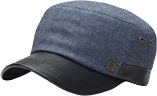 A69 Hazy Denim Style Faux Leather Design Jeans Feel Army Cap Cadet Military Hat