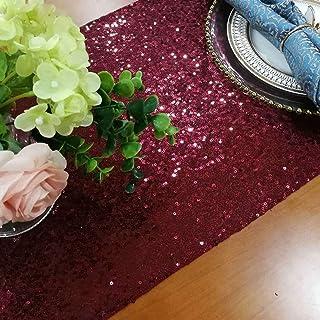 ShinyBeauty Chemin de table à paillettes bordeaux 30,5 x 122,9 cm, décorations de fête prénatale, chemin de table en lin, ...