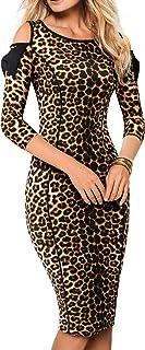 HOMEYEE Women's Cold Shoulder Bowknot 3/4 Sleeve Sheath Pencil Dress B483
