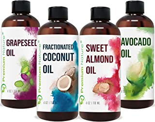 Carrier Oils For Essential Oil - 4 Piece Variety Pack Gift Set Coconut Oil Grapeseed Oil Avocado Oil & Sweet Almond Best O...