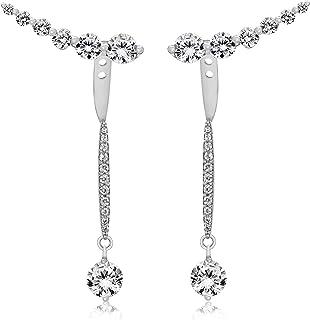 Tuscany 纯银镀铑白色方晶锆石夹克和蜡笔耳环 3.5