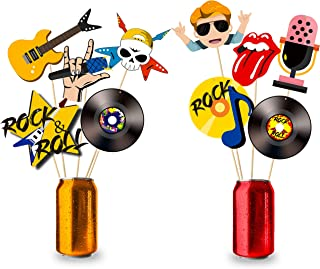 MALLMALL6 1950's Rock and Roll Centerpiece Sticks Rock Star Themed Birthday Party Supplies Record Cutout Table Topper 1950s Sock Hop Decoration Room Decor Party Favor Costumes Photo Booth Props