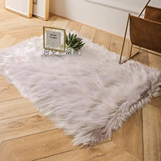 Ashler Faux Fur Area Rug Indoor Ultra Soft Fluffy Bedroom Floor Sofa Living Room Beige Rectangle 2 x 3 Feet