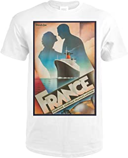 France - French Line Vintage Poster (artist: John Mattos) c. 1979 64048 (Premium White T-Shirt X-Large)