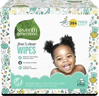 Seventh Generation Baby Wipes, 384 count, Made for Sensitive Skin with Flip Top Dispenser