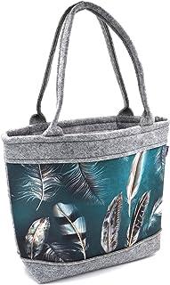 Bertoni Polo Handtasche Damen Shopper mit Reißverschluss und Innentaschen aus Filz elegant modisch Filztasche mittelgroß m...