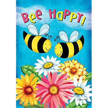 """BEE HAPPY BEES and FLOWERS SPRING SUMMER YARD GARDEN FLAG 12.5/"""" X 18/"""""""