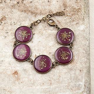 Bracciale regolabile in ottone con ciondoli in resina e fiori veri di carota selvatica, bracciale donna, bracciale natura,...