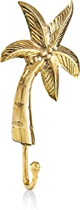 Coastiva Brass Palm Tree Decorative Wall Hook, Coastal Home Decor for Towel Holder in Bathroom, Wall Mounted Nautical Style Hooks for Hanging Coat, Robe, Bag, Scarves, Towels, Hat Purse and Key