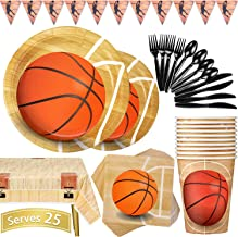 Basketball Party Supplies 177PCS Sports Theme Children Birthday Decoration Disposable Dinnerware Set Includes Plates, Cups...