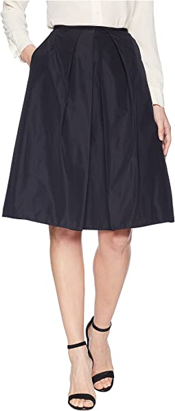 A-Line Faille Skirt with Front Pleat