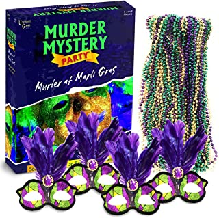 Murder Mystery Party Game Bundle- Murder at Mardi Gras, Host Your Own New Orleans Murder Mystery Dinner with 4 Feather Masks and 2 Dozen Purple, Green and Gold Bead Necklaces