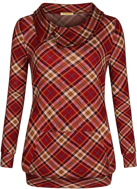 Baikea Women's Wide Lapel Long Sleeve Lightweight Pocket Plaid Hoodie Sweatshirt
