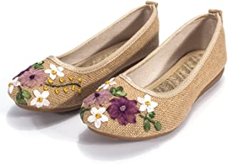 DODOING Embroidered Chinese Style Flats Ballet Embroidery Crafts Comfortable Slip on Women's Shoes Khaki/White/Deep Blue