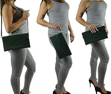 Dannii Matthews Damen Clutch, Wildleder, Clutch, Handtasche, Abendtasche, Clutch, Hochzeit, Party, mit Kette, Grün - blaugrün