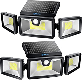 TBI Security Solar Lights Outdoor 216 LED 2200LM, 6500K - Extra-Wide Adjustable 360° 3 Heads with 3 Modes,Wireless Motion ...