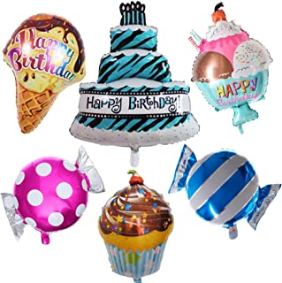 Happy Birthday Large Foil Balloon set - (6 pack) Cake, cupcake, ice cream cone, ice cream bowl, pink candy, blue candy by Par-T