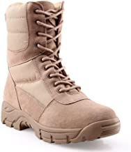 BURGAN 888 All Terrain Tactical (Side Zipper) Combat Boot | Lace Up Padded Jungle Everyday Style | Unisex for Men and Woman | Lightweight Military Motocycle Outdoor Hiking Fashion Work Shoes Tan