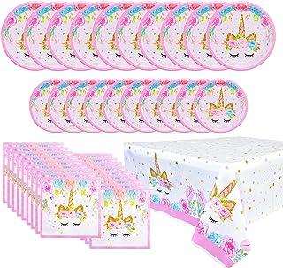 FZR Legend Unicorn Party Supplies Set - Including Disposable Paper Unicorn Party Plates Napkins and 2 Plastic Tablecloths ...