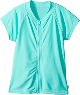 Seafolly Kids - Summer Essentials Short Sleeve Zip Front Rashie (Little Kids/Big Kids)