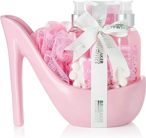 BRUBAKER Cosmetics - Coffret de bain & beauté de luxe - Fleur de cerisier - 6 Pièces - Escarpin décoratif - Rose - Id...