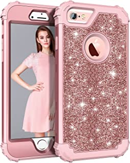 Pandawell Compatible iPhone 6s Case, iPhone 6 Case, Glitter Sparkle Bling Heavy Duty Hybrid Sturdy Armor High Impact Shockproof Protective Cover Case for Apple iPhone 6s/6 - Shiny Rose Gold