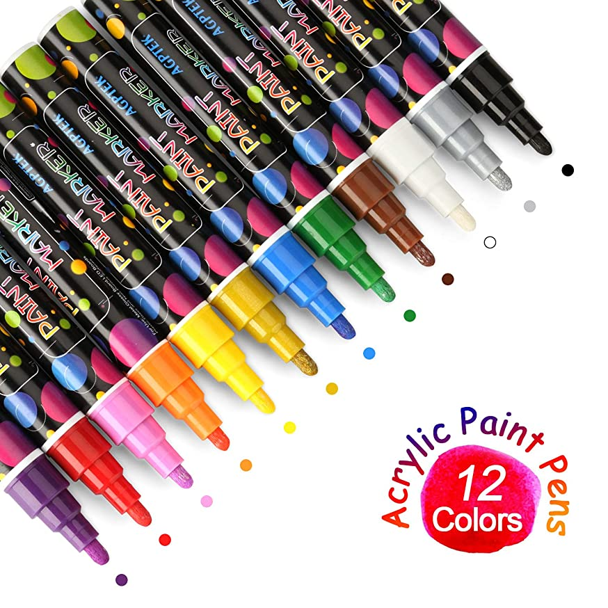 Acrylic Paint Pen, AGPtEK Acrylic-Based Paint Makers Set of 12, Water-Based, Fast-Drying and Acid-Free Opaque Ink for Most Object Surfaces