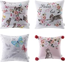 Ashler Decorative Cute Cat and Flower Square Throw Pillow Cover for Home Decor Sofa 18 x 18 inch 45 x 45 cm Set of 4