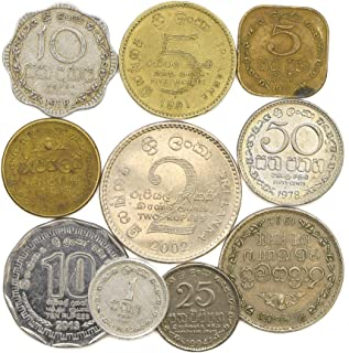 10 SRI Lanka Coins from South Asia Island. Ceylon, SRI Lankan Old Collectible Coins LOT Cents Rupees. Perfect Choice for Your Coin Bank, Coin Holders and Coin Album